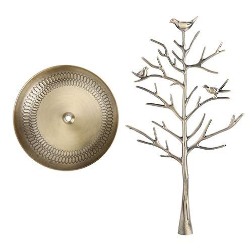 Pendientes de árbol de dinero, pendientes de collar, expositor de joyas de mesa, porta joyas, soporte para collar con árbol para joyas (bronce antiguo)