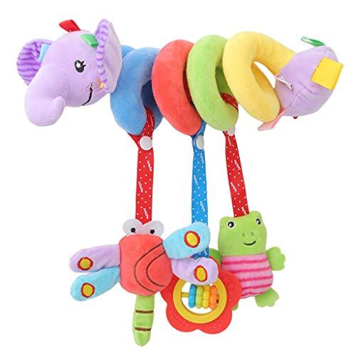 Ogquaton Cochecito de bebé Premium Cochecito espiral Sonajeros Juguete Colgante Elefante de juguete