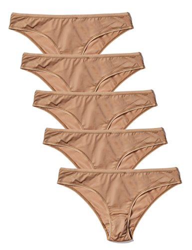 Amazon-Marke: Iris & Lilly Damen Brazilian Slip aus Mikrofaser, 5er-Pack, Beige (Natural), M, Label: M