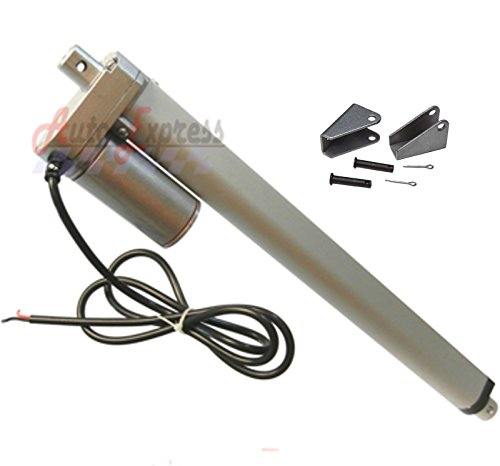 """Heavy Duty 16"""" Linear Actuator with Mounting Brackets Stroke 200 Pound Max Lift 12 Volt DC"""
