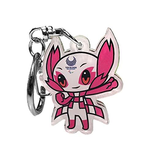 Llavero olímpico de la mascota 2021 Tokio Juegos Olímpicos Anime Llavero de dibujos animados, llavero acrílico tema recuerdos bolsa de mascota colgante decoración para niños adultos