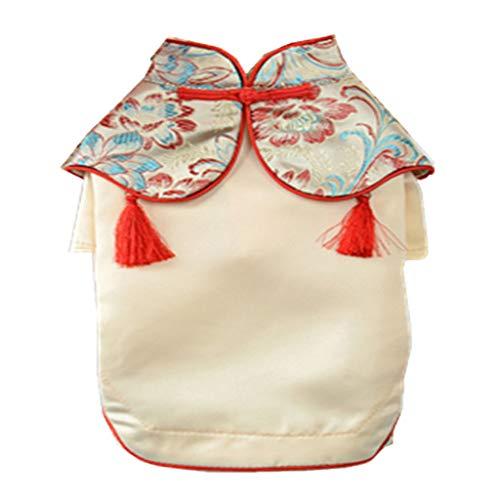 LOVIVER Reizende Chinesische Stil Hundekleidung Hunde Welpen Kostüm Frühling Sommer Kleidung - Typ 1 Goldgelb, M