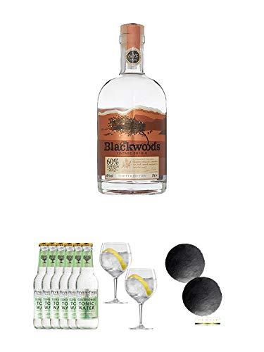 Blackwoods Vintage Dry Gin 60% 0,7 Liter + Fever Tree Elderflower Tonic Water 6 x 0,2 Liter + Spiegelau Gin & Tonic 4390179 2 Gläser + Schiefer Glasuntersetzer RUND ca. 2 x 9,5 cm Durchmesser