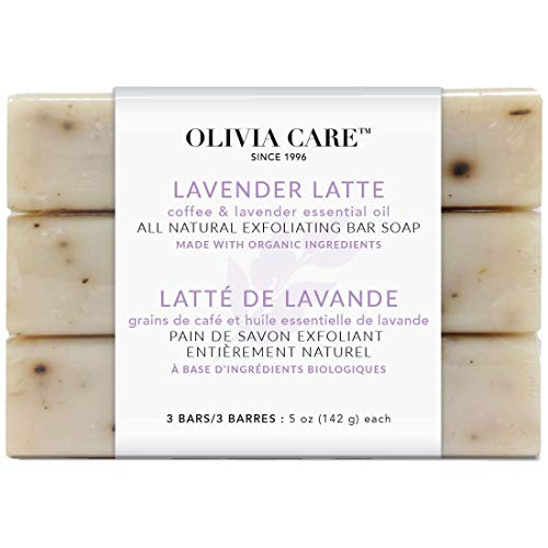 Lavender Latte Exfoliating Bar Soap 3 Pack By Olivia Care - Natural, Organic. Infused with Coffee Bean & Lavender Essential Oil | Clean Energize Mind Body. Full of Vitamin & Antioxidants - 3 X 5 OZ