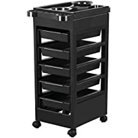 Yaheetech Salon SPA Beauty Hairdressing Rolling Trolley Cart (Black)