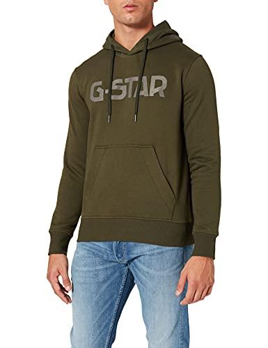 G-STAR RAW Hooded Felpa con Cappuccio, Verde (Dk Bronze Green A971-6059), L Uomo