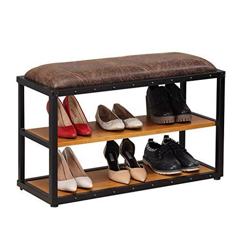 jhsms Zapatero industrial de 3 niveles con organizador de almacenamiento de zapatos tapizado de cuero con marco de metal para sala de estar, dormitorio, pasillo, 3 niveles, 80 x 30 x 47 cm