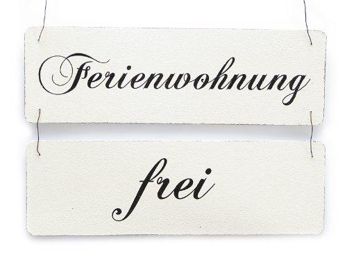 Interluxe Vintage Shabby Schild Türschild FERIENWOHNUNG FREI BELEGT Holzschild Ferienhaus