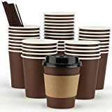Coffee Cups, 100 Packs 12 Oz Disposable Coffee Cups, Paper Coffee Cups With Lids Straws and Sleeves, Disposable Coffee Cups With Lids 12 Oz, To Go coffee Cups From Eupako