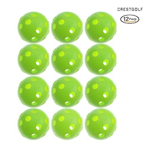 Golf oefenbal van kunststof, 70 mm diameter, in bonte kleuren, rood, oranje, geel, wit, blauw, groen, zes kleuren naar keuze, ook ideaal voor uw huisdieren, 12 stuks