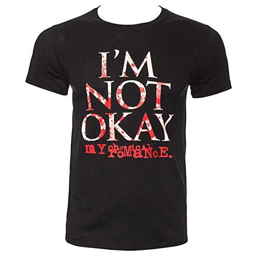 Maglietta ufficiale con scritta in lingua inglese 'I'm not okay My chemical romance' (lingua italiana non garantita) Black Medium