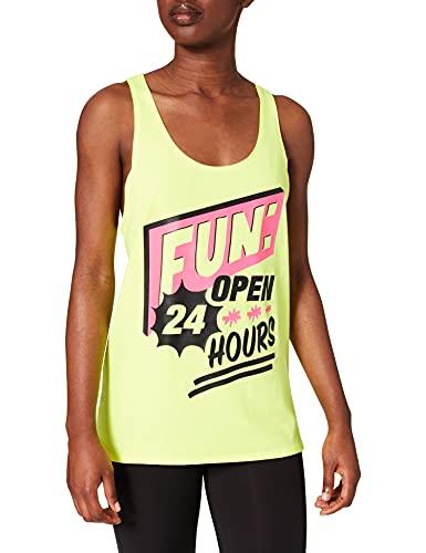 Zumba Dance Atlético Estampado Fitness Camiseta Mujer Sueltas de Entrenamiento Top Deportivo Tank Tops, Poppin' Yellow, XX-Large Womens
