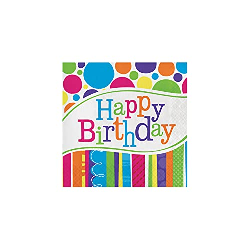 Creative Converting 665412 Bright and Bold Happy Birthday Lunch Napkins, 16 ct, Multi-color
