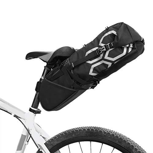 HJSW Bolsa de Sillín de Bicicleta de Montaña Impermeable, Silla de Montar Bolsa Portátil Paquete de Cuña Accesorios Bicicletas para Carretera y Otras Bicicletas Competiciones de Ciclismo, 12L, Negro