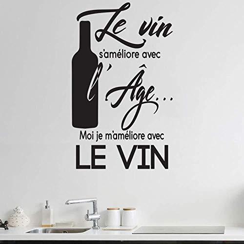 Adhesivo de pared de vinilo extraíble calcomanía de pared personalidad eslogan de vino francés restaurante calcomanía de cocina pegatina cocina restaurante 57x94cm