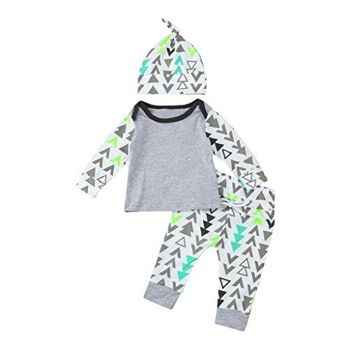 winwintom Nuevo La ImpresióN GeoméTrica De Los BebéS ReciéN Nacidos del NiñO Tops + Los Pantalones Ropa Determinada De Los Equipos 3Pcs (3Meses)