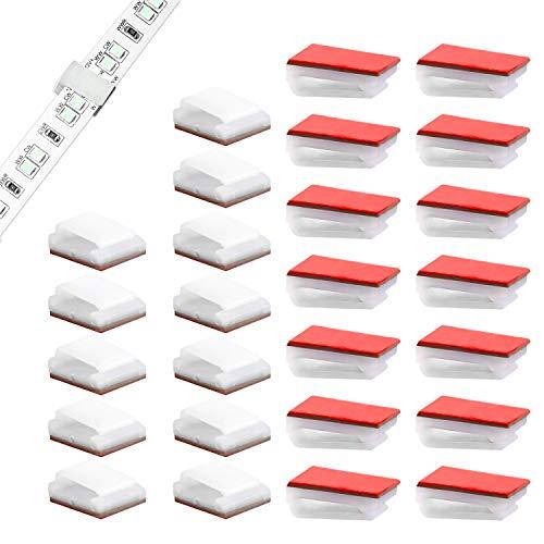 KINBOM 100 Piezas Clips de Montaje Para Tiras de Luz Soportes Autoadhesivos Soporte Clip de Gestión de Cables para Tiras de Luz LED de 10 mm de Ancho