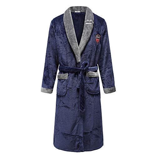 ASADVE Coral Fleece Ropa Familiar Lencería Color sólido Bata Familiar Vestido de Dama Joven de Gran tamaño 3XL-Mujer Azul Marino 6_XXL