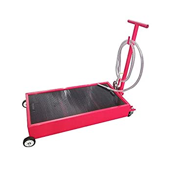 TUFFIOM Portable 20 Gallon Oil Drain Pan with Pump Low Profile Oil Change Pan with 8  Hose & Swivel Caster Wheel for Car &Trucks Large Capacity with Tray Mesh Red