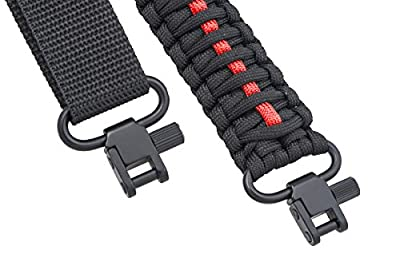Ace Two Tactical Gun Sling 550 Paracord - Rifle or Shotgun - 2 Point - Extra Strong Multi Use (Thin Red Line)