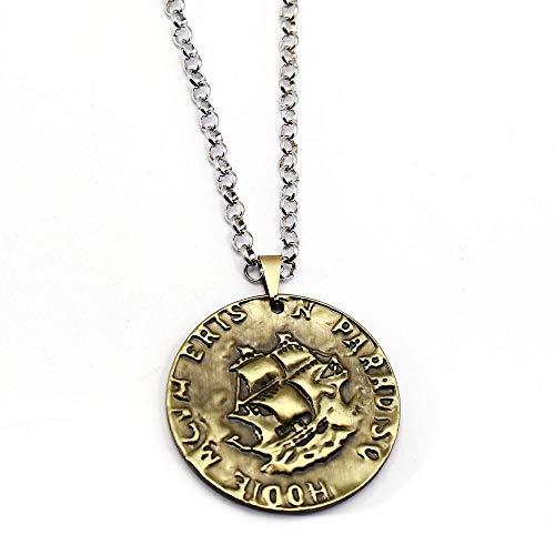 YUNMENG Juego Mysterious Sea Area Collar Uncharted Coin Colgante Eslabones de Cadena Collares Regalo de la Amistad Hombres Mujeres Accesorios de joyería