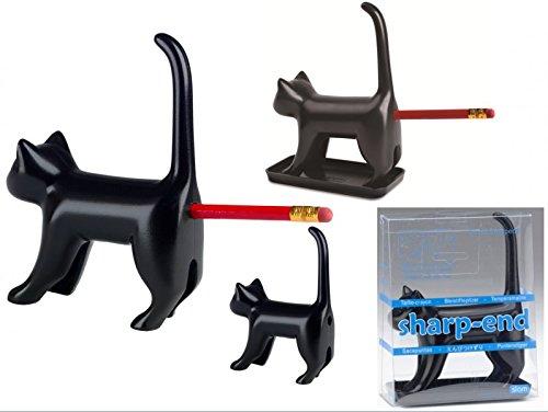 Black Cat Miauende Bleistiftspitzer-Schwarze Katze Anspitzer Spitzer miauen, Kunststoff