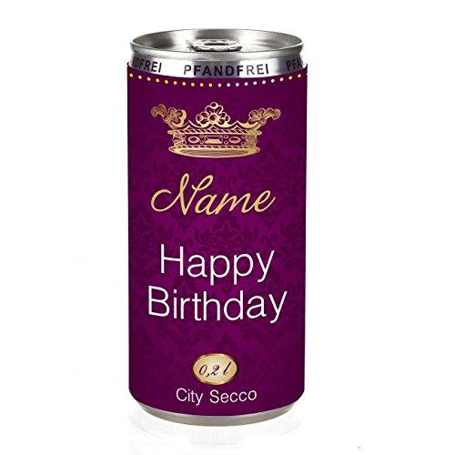 Herz & Heim® City Secco Happy Birthday Perlwein mit Wunschname (weiß trocken) 200 ml