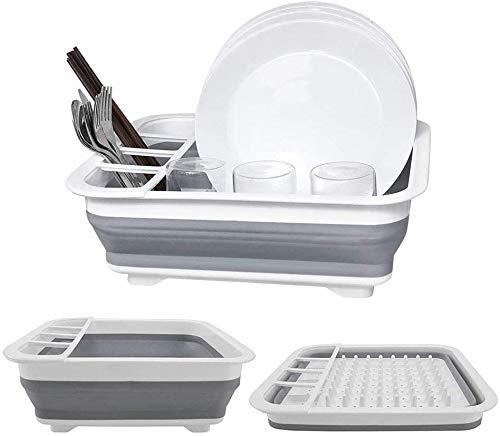 Rejilla de secado de platos plegable, rejilla de secado de platos pequeña, rejilla de secado de platos portátil D L D,...