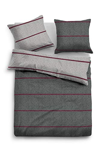 TOM TAILOR 0849971 Juego de sábanas de Franela Melange con Funda de Almohada (algodón (60% Reciclado)) 1x 135x200 cm + 1x 80x80 cm, Negro