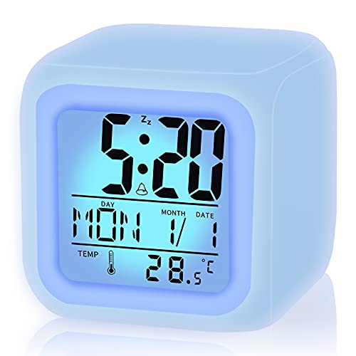 Kids Alarm Clock,Boy Girl Digital Alarm Clock with LED Seven Color Night Light and Wake Up Function for School, Birthday Gifts, Xmas, Kids Bedroom Decoration