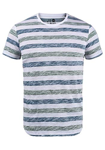 !Solid TET Herren T-Shirt Kurzarm Shirt Mit Streifen Und Rundhalsausschnitt, Größe:XL, Farbe:Creme de Menthe (3017)
