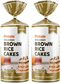 Pintola Organic Wholegrain Brown Rice Cakes (All Natural, Unsalted) (Pack of 2)