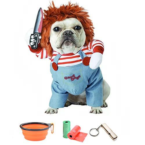 TVMALL 犬のコスチューム致命的な人形犬の衣装ペット服小さな犬の衣装のハロウィンコスプレプラス帽子面白い犬パーティー服クリスマス衣装と犬に適していますペットへのホリデーギフト - 予備のギフトフォールディングボウル+ごみ袋+トレーニングホイッスル (M