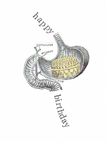 Happy Birthday Anatomical Stomach Birthday Card | Birthday Cake Funny Medical Science Humor
