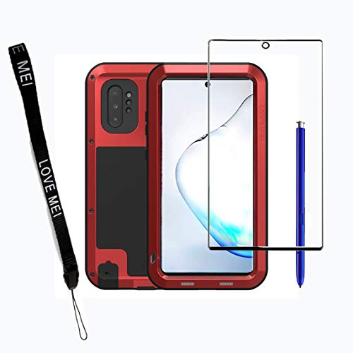 Mangix Galaxy Note 10 Plus Case,Armor Aluminum Metal Case Hybrid Soft Rubber Military Heavy Duty Shockproof Outdoor Defender for Samsung Galaxy Note 10 +/Plus/Pro 5G (Red)