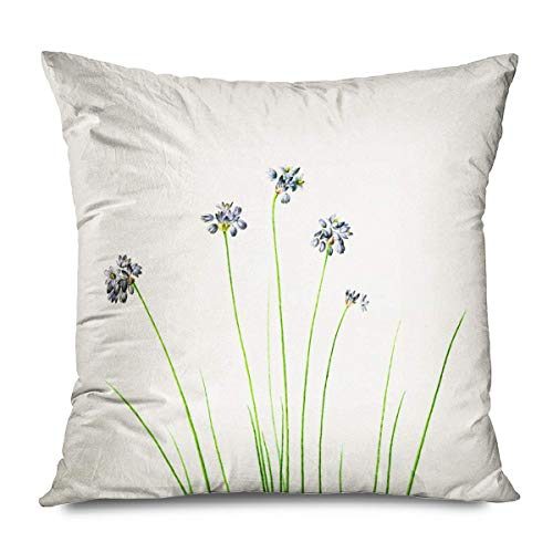 Florals Throw Pillows Cushion Cover for Bedroom Sofa Living Room Spring Flower Language North Europe Small Fresh Modern Minimalist Rural Floral Green Slender Leaf Pillowcase 20x20 Inch