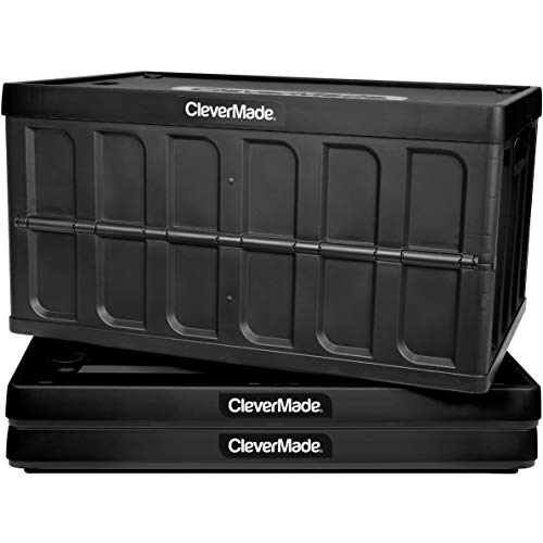 CleverMade CleverCrates 62 Liter Collapsible Storage BinContainer Solid Wall Utility BasketTote with Lid Black 3 Pack