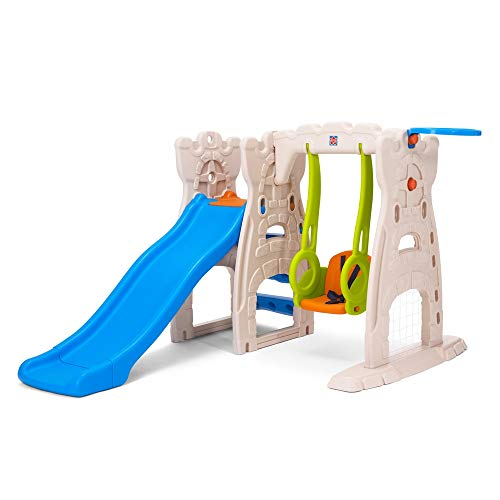 Grow'n Up Scramble 'n' Slide Play Centre | Kids Garden Playground with 4 feet Slide, Swing, Basketball Hoop and Football Net | Garden Play Activity Gym for Toddlers |