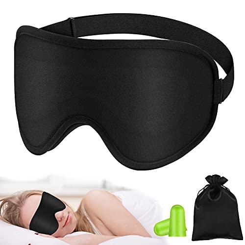 Antifaz para Dormir, Tejido de Seda Natural Pura Ultra Suave y Agradable para la Piel Mascara de Dormir Relleno de Algodón Natural 3D con Contorno Ajustable y Tapón para los Oídos para Viajar y Casa
