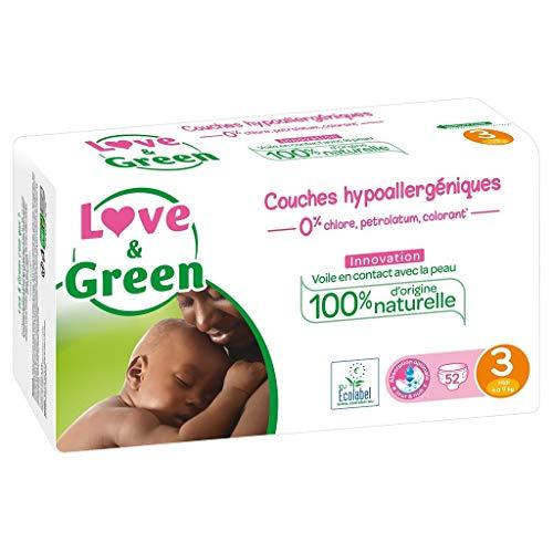 Love & Green - Couches Bébé Hypoallergéniques 0% - Taille 3 (4-9 kg), 52 couches