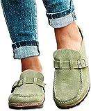 REDCVBN Sandalen Damen Flache Maultier Sandalen Runde Zehen Slip On Loafer Schuhe Closed Toe Walking...