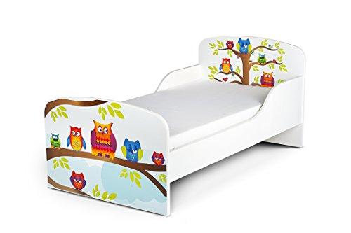 Leomark Cama Infantil Completa de Madera - Happy Owls - Marco de Cama, Colchón, Somier, Blanco Muebles para Niños, Moderno Dormitorio, Impresa Mobiliario, Espacio para Dormir: 140/70 cm