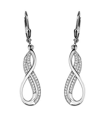 SOFIA MILANI - Damen Ohrringe 925 Silber - mit Zirkonia Steinen - Unendlich Ohrhänger - 20567