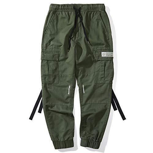 Pantalones de Combate de Carga para Hombre, Color sólido, Multibolsillos, con cordón, Cintura elástica, pies con viga, Pantalones Harem Informales de Viaje al Aire Libre Large