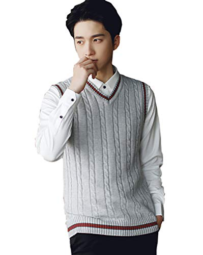 Hombre Invierno sin Mangas con Cuello en V Chaleco Prendas de Punto de Punto Chaleco suéter Caballero Mens