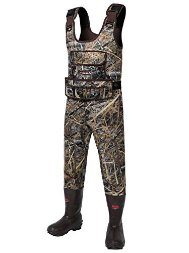 HISEA Hunting Waders Neoprene Camo Chest Waders for Men with 1600 Gram Insulated Rubber Boots Durable & Warm