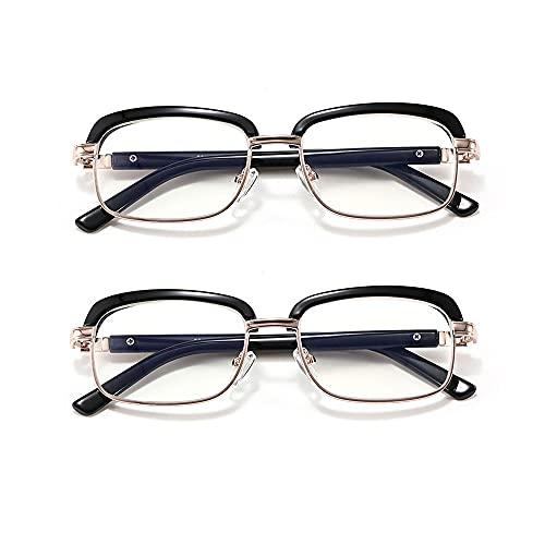 Reading Glasses Gafas de Lectura de Medio Marco para Ancianos y Mujeres, cómodas y portátiles, Lentes de Vidrio óptico (2 Piezas)
