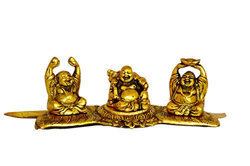 Mandala Craftorious Laughing Buddha Metal Statue Monk Figurine Accent Home Decor Gold Color 3 Poses Feng Shui Decoration