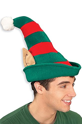 Rubie's Striped Elf Hat with Ears Costume Accessory Green