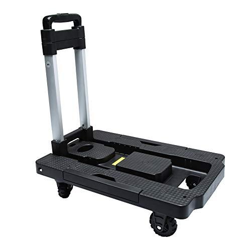 Kampeaburr - Chariot pliant, roue 5-TPR, rotation 360 °, petit chariot pliable (330 lb) pour les voyages d'affaires, les appareils mobiles et plus
